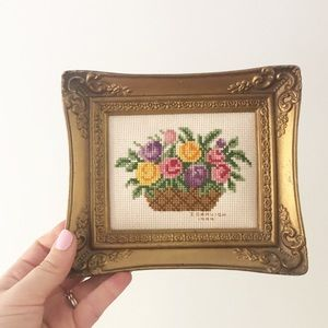 Vintage Floral Cross Stitch Embroidery Gold Frame